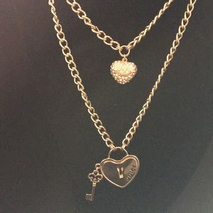 New Juicy Couture 2 tiered Heart Lock & Key Neckla